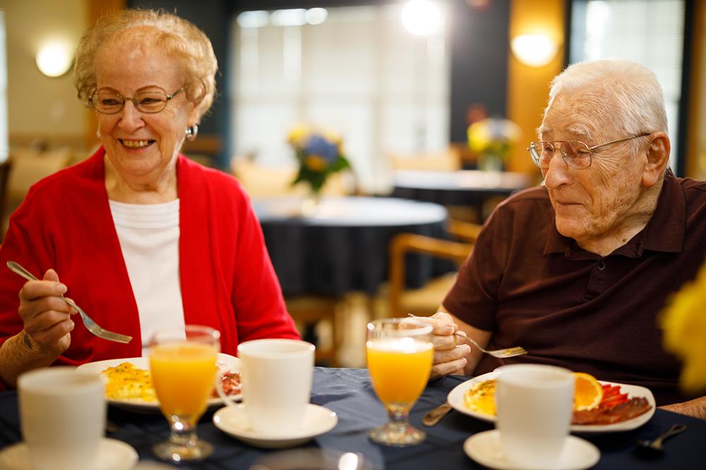 A pair of resident's enjoying breakfast